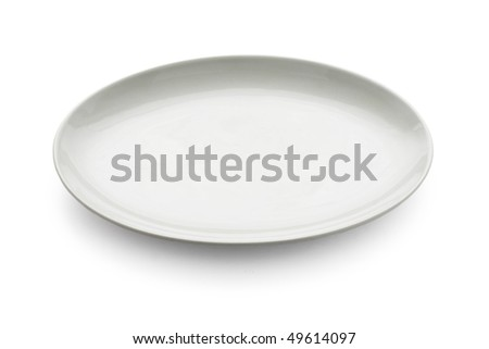 White oval plate - stock photo
