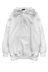 White oversized basic hoody isolated over white