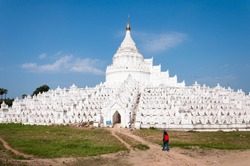 White pagoda of Hsinbyume aka Taj Mahal of Myanmar located in Mingun, Mandalay.