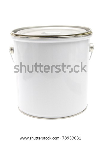 White paint can isolated on white background