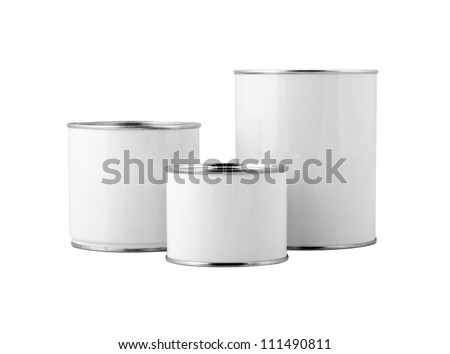White paint can set without label isolated on white. Path included.