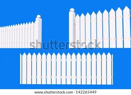 White Painted Backyard Wood Fence Isolated on Blue Background.