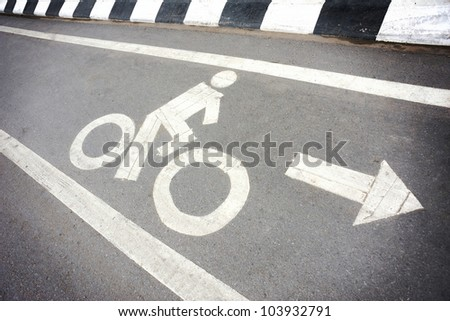 white painted symbol for bike lane