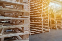 White pallets in the warehouse.