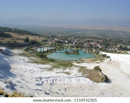 White Pamukkale and pools in Turkey              #1150932305