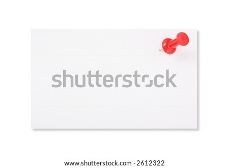 White Paper and Red Push Nail on white background