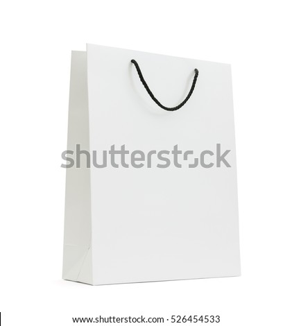 White paper bag for luxury store isolated on white background with clipping path