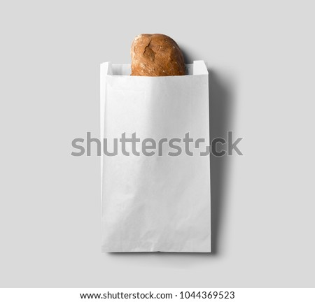 White paper bag for your logo and design. Easy to change colors.White background.Paper package.Packing.Paper bag with beard.Mock up