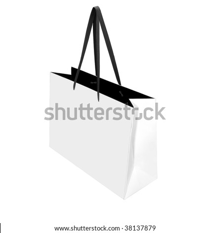 White paper bag isolated on white background. Clipping path