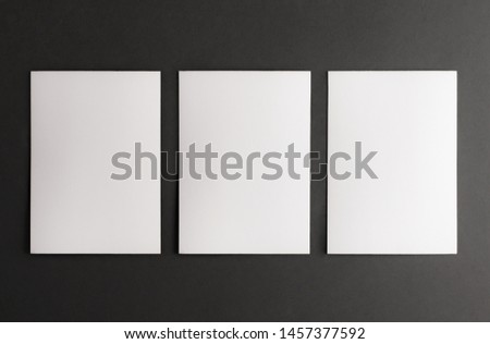 White paper blanks on the black background. Card template, portfolio mock up #1457377592