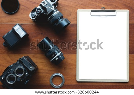 White paper board and photography tool. Concept for application form or other message.