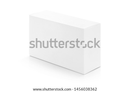 Photo of  white paper box for products design mock-up isolated on white background with clipping path