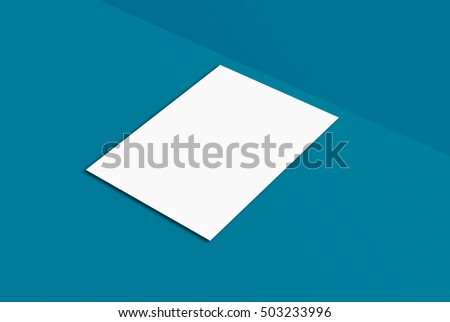 White paper card on blue background, for your design and template. Mock-up postcard and cover. White paper card on grey and color background, for your design and template. Three-dimensional rendering