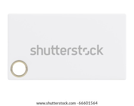 white paper card with golden ring