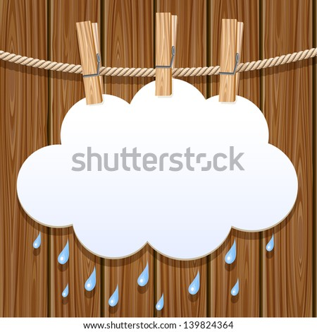 White paper cloud hanging by clothes peg on a clothesline. Raster version. Vector is also available in my gallery