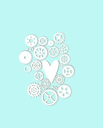 white paper cogwheels and heart on blue background. symbol of love. Valentine's day, 14 or 23 february holiday, man's concept. creative minimal style.