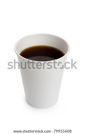 White Paper Cup and Coffee close up