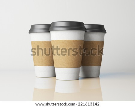 White paper cups with caps