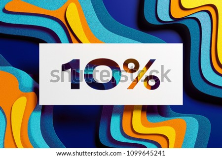 White Paper Cut 10% Symbol on the Yellow and Blue Layered Paper Background. 3D Illustration of 10% Symbol Sale, Ten Percent Off Symbol for Kids Backgrounds.