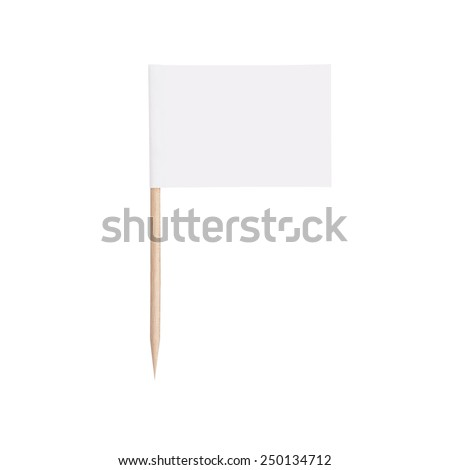 white paper flag. Ready for a Message. Isolated on white background.With clipping path #250134712