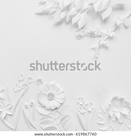 white paper flowers wallpaper on white background, spring summer background, floral design elements #619867760