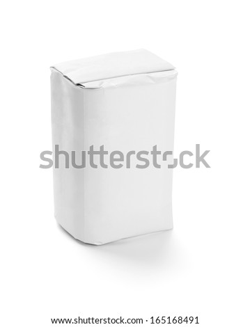 white paper food package on white background