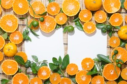 white paper for font lay on juicy delicious oranges art flat lay composition
