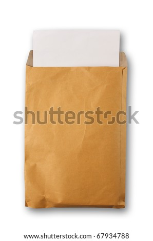 White paper from a brown open envelope on white
