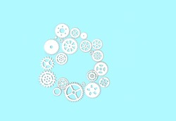 white paper gears and cogwheels on blue background. Idea, skills and teamwork concept. creative minimal style. copy space