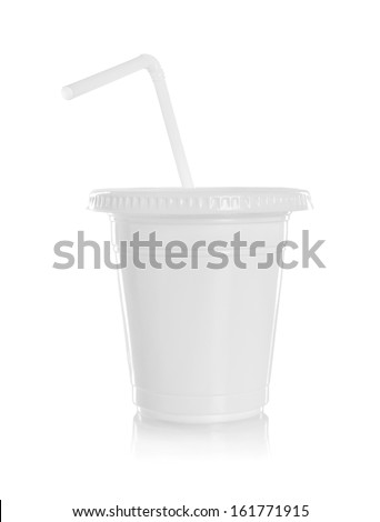 White paper glass with straw isolated on white background