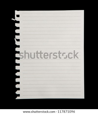 White paper  isolated on black background