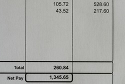 White paper pay slip, showing deductions and net pay. Close up view from above.