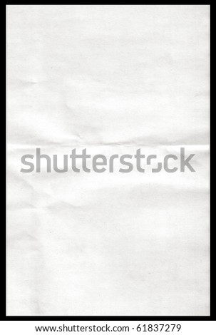 White paper pulled out from a notebook on a black background