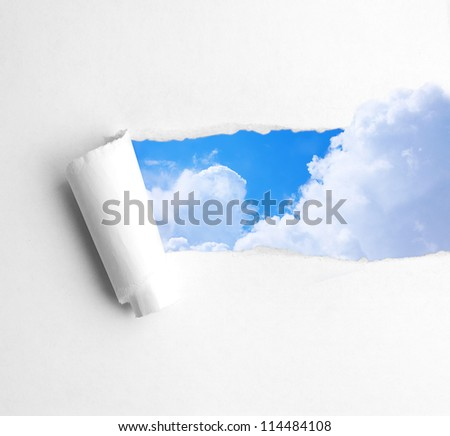 white paper ripped bending cloud fly background