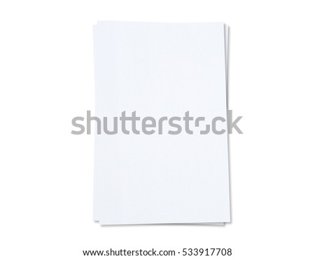 White Paper sheet isolated on white background on with clipping path