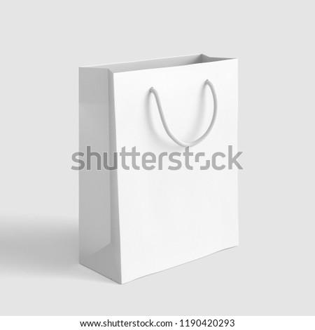 White Paper Shop Bag. 3D rendering