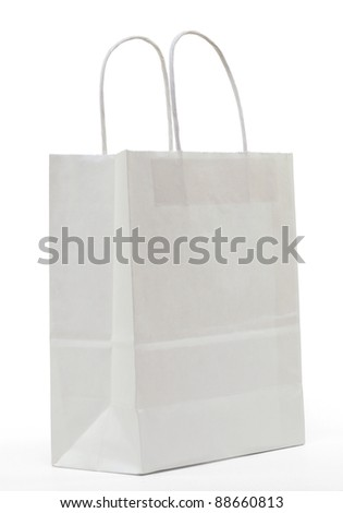 White paper shopping bag on a white background