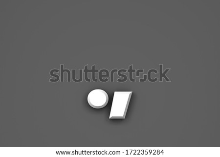 White paper style font - period (full stop) and comma isolated on grey background, 3D illustration of symbols Сток-фото ©