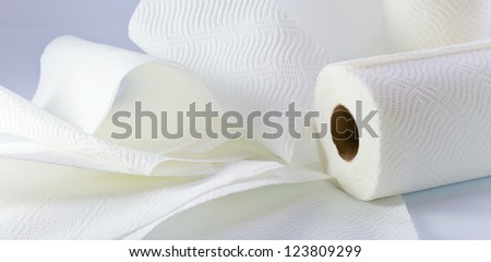 White paper towel on a white reflective background.
