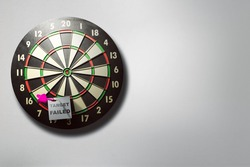 White paper with target failed text in the darts on the wall