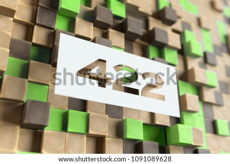 Stock Photo White Papercut Number 422 on the Wood Pattern With Green Dots on Background. 3D Illustration of Number 422 Unprocessable Entity for Wallpapers and Nature Backgrounds.
