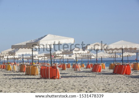 White parasols with yellow and orange beach chairs on a beautiful sandy beach, no people #1531478339