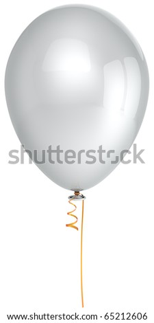White party balloon single clean blank colorless birthday holiday new years eve celebration christmas anniversary graduation retirement life events greeting card design element 3d render isolated