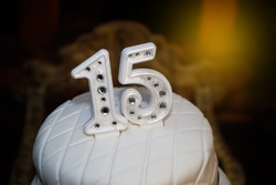 White party cake, 15th birthday, with silver number fifteen, white cake, 15 year old birthday cake