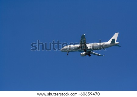 White passenger airplane in the blue sky
