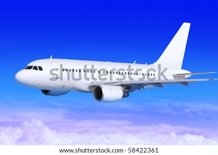 white passenger airplane in the blue sky landing away