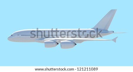 White passenger plane. A side view. Isolated render on a blue background