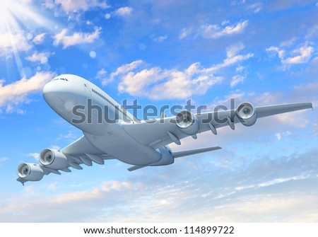 White passenger plane flying in the blue sky with white clouds around