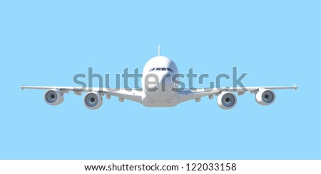 White passenger plane. Front view. Isolated render on a blue background