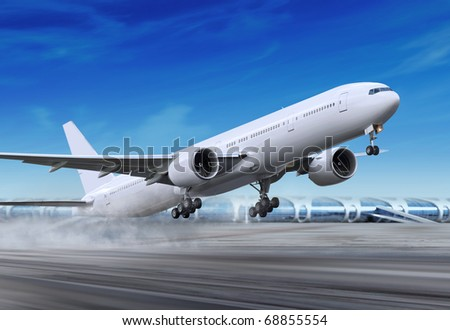 white passenger plane is landing away from airport - stock photo